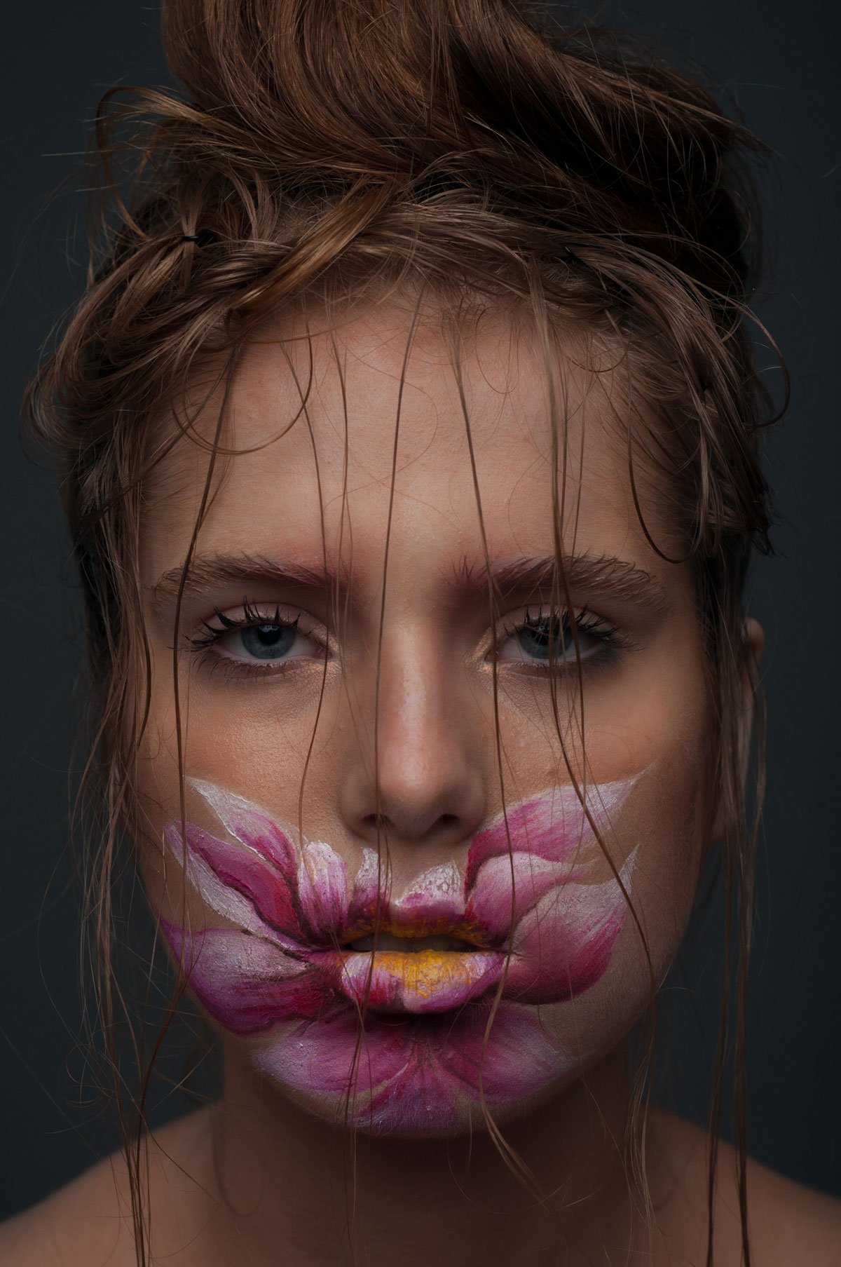 Face covered with a flower painting retouched |MUA Daria Bogatova, MODEL Kate Cherenova, PHOTO Anna Doctor unretouched